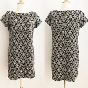 Zara Shift Dress Diamond Pattern Metallic Thread
